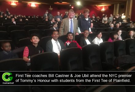 First Tee coaches Bill Castner & Joe Ubil attend the NYC premier of Tommy's Honour with students from the First Tee of Plainfield