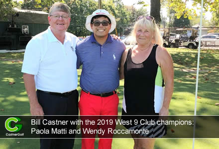 Bill Castner with the 2019 West 9 Club champions: Paola Matti and Wendy Roccamonte