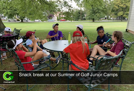 Snack break at our Summer of Golf Junior Camps